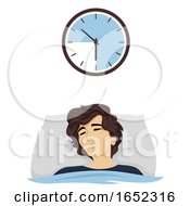 Teen Boy Hours Sleep Time 9 Illustration