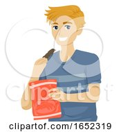 Poster, Art Print Of Teen Boy Eat Jerky Food Illustration