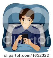 Teen Boy Late Night Use Device Illustration