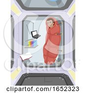 Teen Boy Space Station Sleep Illustration