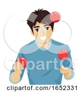 Teen Guy Juggle Balls Illustration