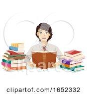 Teen Guy Law Student Read Books Illustration