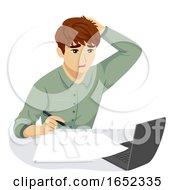 06/06/2019 - Teen Guy Stressed Tired Work Illustration
