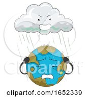 Earth Mascot Acid Rain Illustration