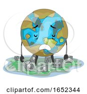 Earth Mascot Toxic Waste Illustration