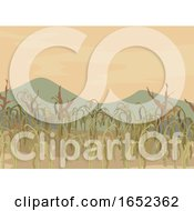 Corn Field Dying Crops Illustration