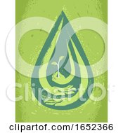 Poster, Art Print Of Droplet Water Crisis Hands Protect Illustration
