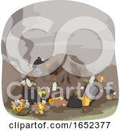 Skull Land Pollution Illustration