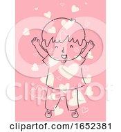 Kid Boy Child Raising Showered Love Hearts