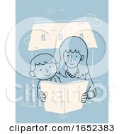 Kid Boy Mom Child Raising Home Read Illustration