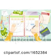 Hands Planner Bills Money Illustration
