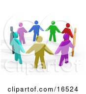 Colorful Circle Of Diverse People Holding Hands, Symbolizing Teamwork And Unity