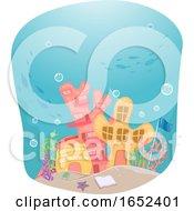 Underwater Ocean School Building Illustration