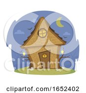 Witch House Night Illustration