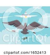 Bird Air Plane Collision Illustration