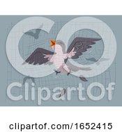 Bird Flying Net Collision Illustration