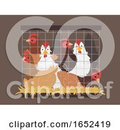 Poster, Art Print Of Chicken Crowded Cage Illustration