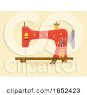 Poster, Art Print Of Sewing Machine Building Illustration