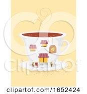 Poster, Art Print Of Teacup Building Shop Illustration