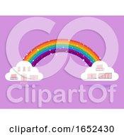 Rainbow Clouds Fantasy Building Illustration