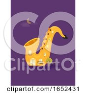 Saxophone Jazz Building Illustration