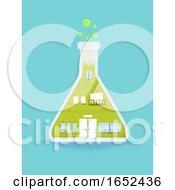 Glass Flask Laboratory Building Illustration