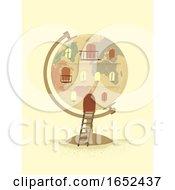 Globe Vintage Building Illustration