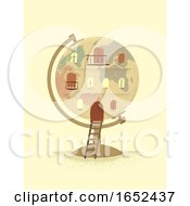 Globe Vintage Building Illustration