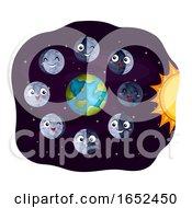Mascot Moon Phases Illustration