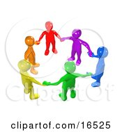 Diverse Circle Of Colorful People Holding Hands, Symbolizing Teamwork, Friendship, Support And Unity