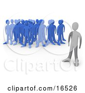 Gray Person Standing Alone Near A Crowd Of Blue People Symbolizing Leadership Depression Uniqueness Etc