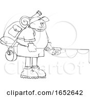 Cartoon Black And White Man Wearing A Backpack With Fishing Gear