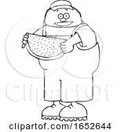 Cartoon Black And White Boy Holding Watermelon