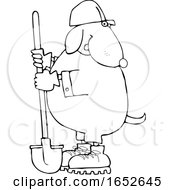 Cartoon Black And White Dog Worker With A Shovel