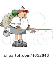 Cartoon Man Wearing A Backpack With Fishing Gear