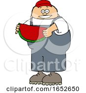 Cartoon Boy Holding Watermelon