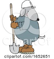 Cartoon Dog Worker With A Shovel