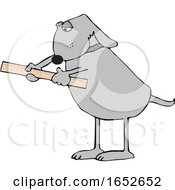 Cartoon Dog Using A Ruler