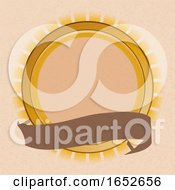 Sun Shield And Blank Banner On Brown Paper Background
