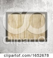 3D Wooden Frame With Wood Texture On A Concrete Wall