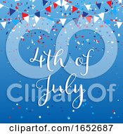 4th July Background With Flags And Confetti