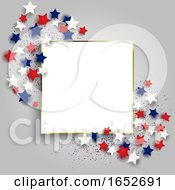 4th July Independence Day Background With With Gold Frame And Stars