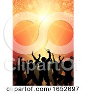 Poster, Art Print Of Party Crowd On Sunburst Background