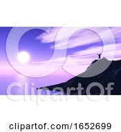3D Male Figure On Cliff Top With Arms Raised Against Purple Sunset Landscape