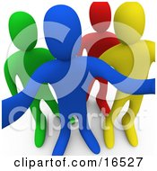 Blue Yellow Red And Green Person Looking Outwards Curiously Clipart Illustration Graphic