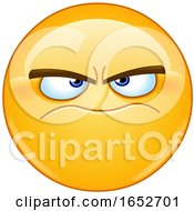 Cartoon Grumpy Yellow Emoji Smiley Face