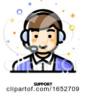 Icon Of Cute Boy With Headset