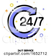 Icon Of Round Arrow With 247 Numbers