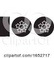 Black And White Number One Hundred Design With Stars