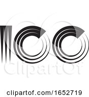 Abstract Black And White Number One Hundred Design